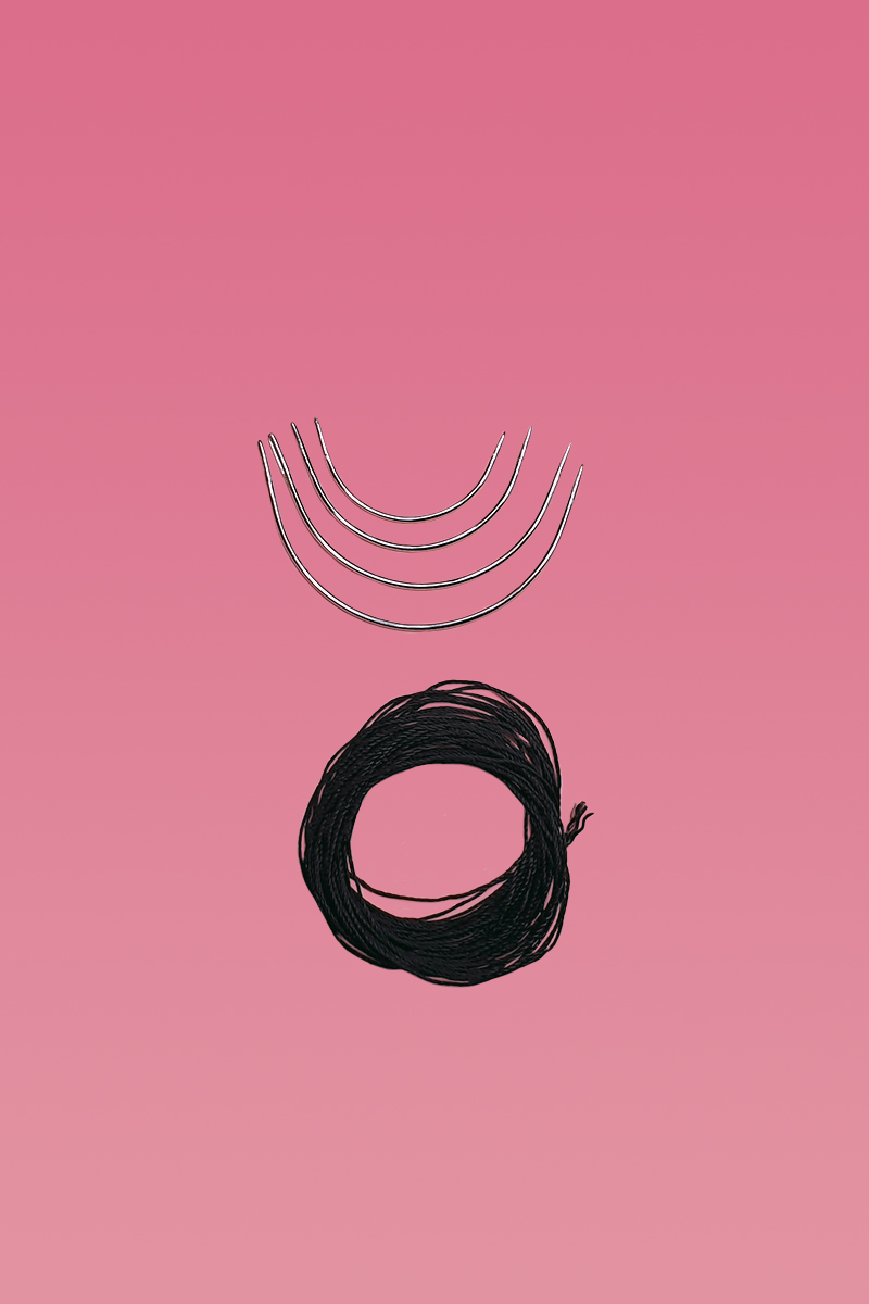 4 Wig Needles and 5m Weft Thread Black-0